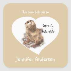Funny Otterly Adorable Cute Otter Animal Bookplate at Zazzle