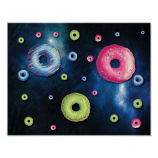 Funny Outer Space Donut Galaxy Poster