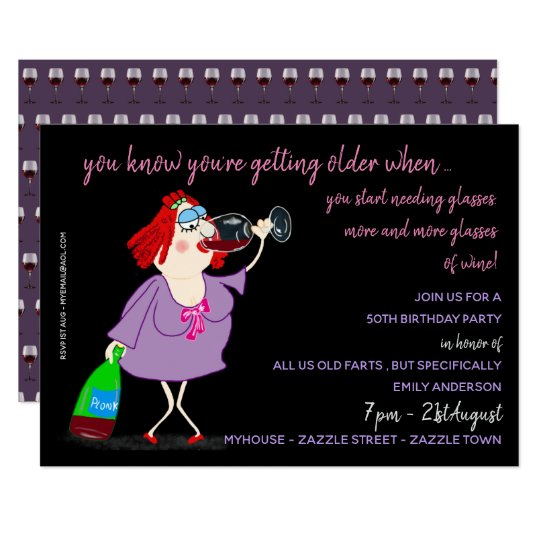 FUNNY Over The Hill Birthday Invites