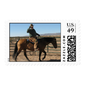 Funny Over the Hill Cowboy & Horse - Western Humor Postage Stamp