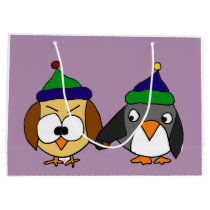Funny Owl and Penguin Best Friends Large Gift Bag