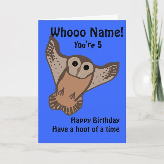 Funny Owl Birthday Cards Child With Name And Age Card
