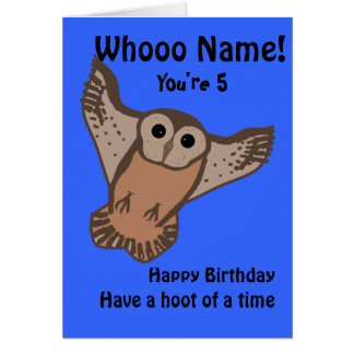 Funny Owl birthday cards, child with name and age, Card