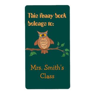 Funny Owl Bookplate Sticker - Label
