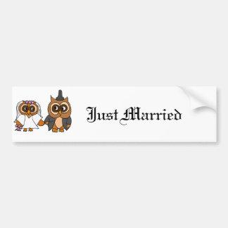 Funny Owl Bride and Groom Wedding Bumper Sticker