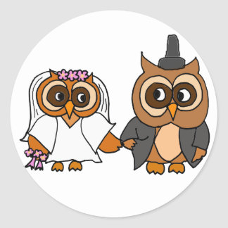 Funny Owl Bride and Groom Wedding Classic Round Sticker