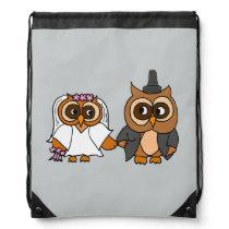 Funny Owl Bride and Groom Wedding Drawstring Backpack