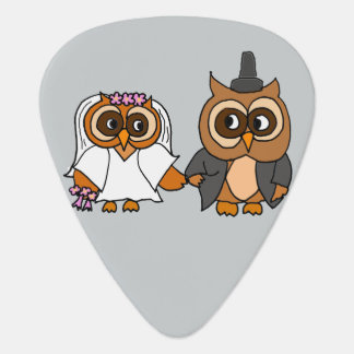 Funny Owl Bride and Groom Wedding Guitar Pick