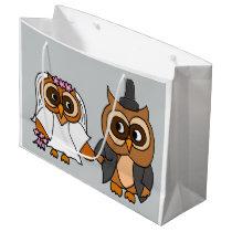 Funny Owl Bride and Groom Wedding Large Gift Bag
