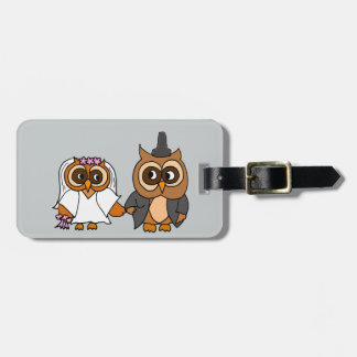 Funny Owl Bride and Groom Wedding Luggage Tag