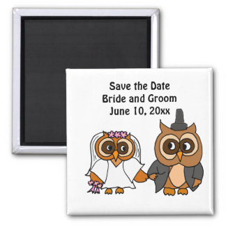 Funny Owl Bride and Groom Wedding 2 Inch Square Magnet