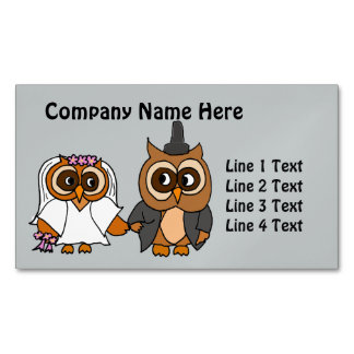 Funny Owl Bride and Groom Wedding Magnetic Business Card