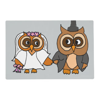Funny Owl Bride and Groom Wedding Placemat