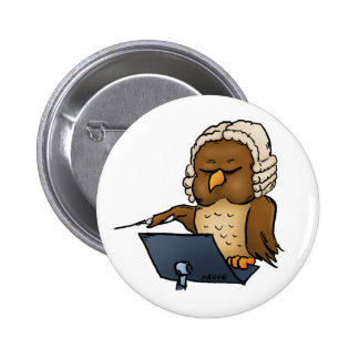 Funny Owl Conductor Cartoon Pinback Buttons