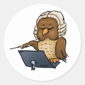 Funny Owl Conductor Cartoon Classic Round Sticker