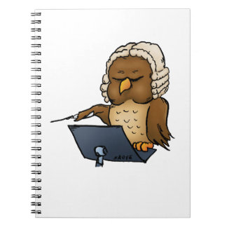 Funny Owl Conductor Cartoon Spiral Notebook