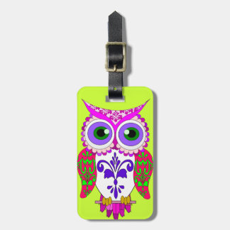 funny owl,edit background color luggage tag