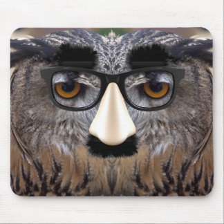 Funny Owl Face With Mask Mousepads