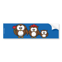 Funny Owl Family Bumper Sticker