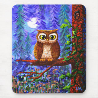Funny Owl Forest Moon Whimsical Creationarts Mouse Pad