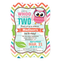 Funny Owl on Cute Chevron Pattern Birthday Party Card