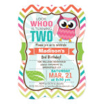 Funny Owl on Cute Chevron Pattern Birthday Party 5x7 Paper Invitation Card