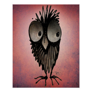 Funny Owl on Pink Poster