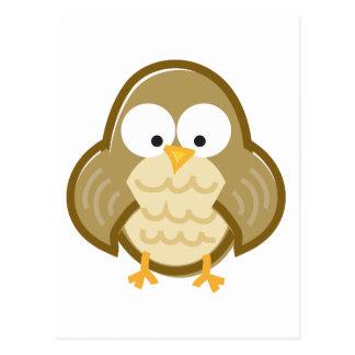 Funny Owl on White Postcard