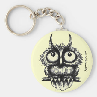 Funny owl pen ink drawing art keychain design