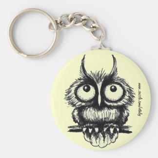 Funny owl pen ink drawing art keychain design