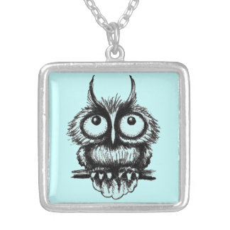 Funny owl pen ink drawing art custom necklace