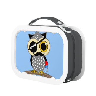 funny owl pirate lunch box