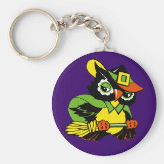 Funny Owl. Retro Style Halloween Gift Keychain