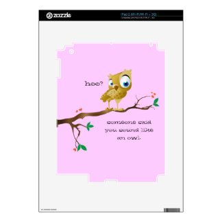 Funny Owl Sayings Decal For iPad 2