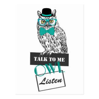 """funny owl sketch vintage """"Talk to me owl listen"""" Postcard"""