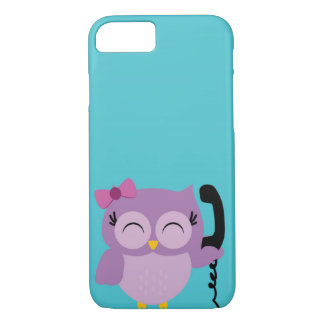 Funny Owl speak on the phone iPhone 7 Case