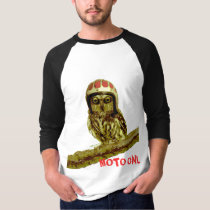 Funny Owl Vintage Motorcycle HELMET- Double Sided T-Shirt