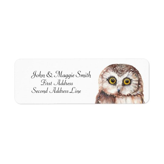 Funny Owl Watercolor Bird Collection Label