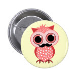 funny owl with mustache 2 inch round button