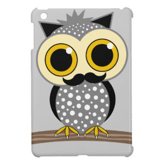 funny owl with mustache cover for the iPad mini