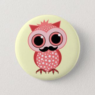 funny owl with mustache pinback button