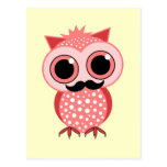 funny owl with mustache postcard