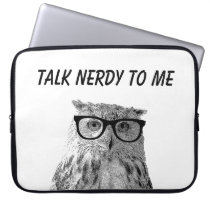 Funny owl with nerdy glasses photo laptop sleeve