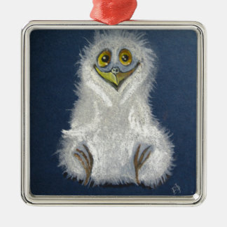 Funny owlet - baby bird metal ornament