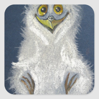 Funny owlet - baby bird square sticker