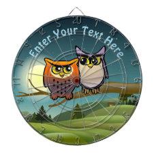 Funny Owls Cartoon Dartboard With Darts