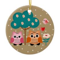 funny owls ceramic ornament