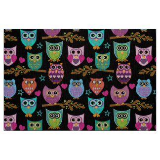funny owls fabric
