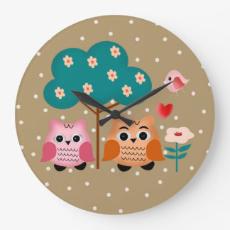 funny owls large clock