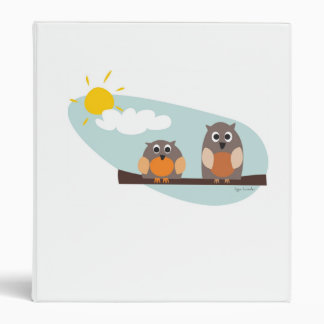 Funny owls on branch on sunny day Binders